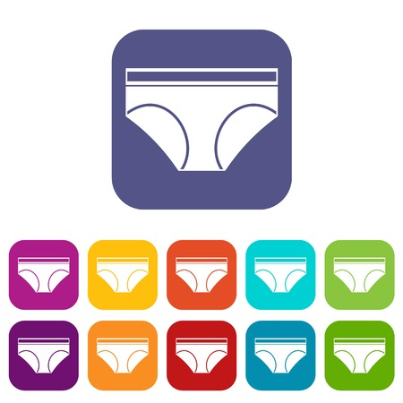 Woman underwear panties icons set vector illustration in flat style In colors red, blue, green and other