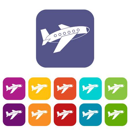 fuselage: Airplane icons set vector illustration in flat style In colors red, blue, green and other Illustration