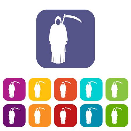 Death with scythe icons set vector illustration in flat style In colors red, blue, green and other