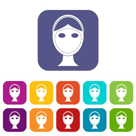 face surgery: Face marked out for cosmetic surgery icons set vector illustration in flat style In colors red, blue, green and other Illustration