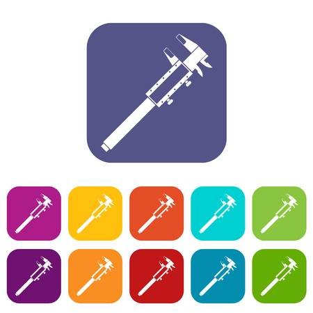Vernier caliper icons set vector illustration in flat style In colors red, blue, green and other