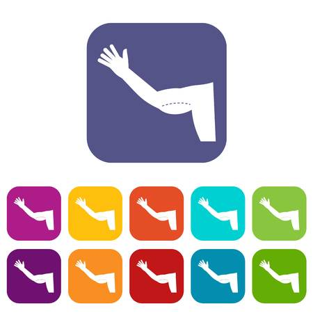excess: Flabby arm cosmetic correction icons set vector illustration in flat style In colors red, blue, green and other