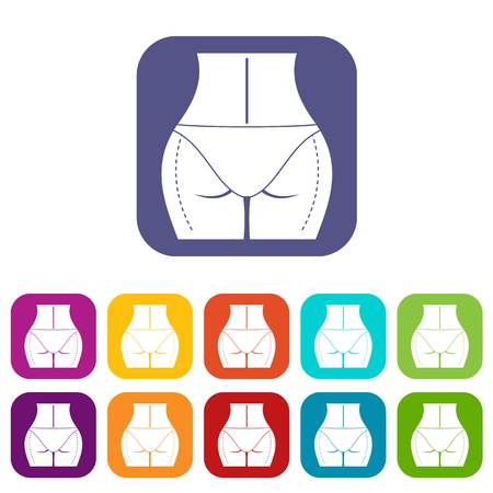 Female prepared to plastic surgery icons set vector illustration in flat style In colors red, blue, green and other