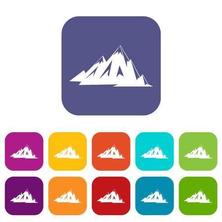 Canadian mountains icons set vector illustration in flat style In colors red, blue, green and other