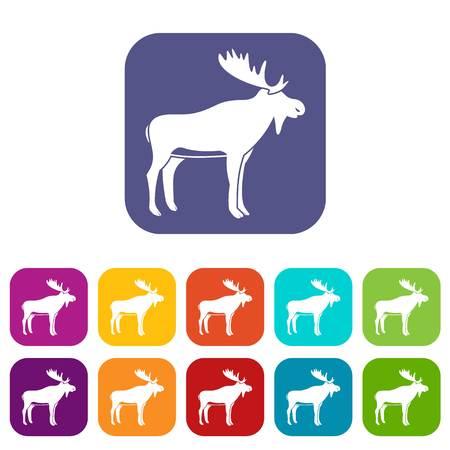 Deer icons set flat Stock Illustratie