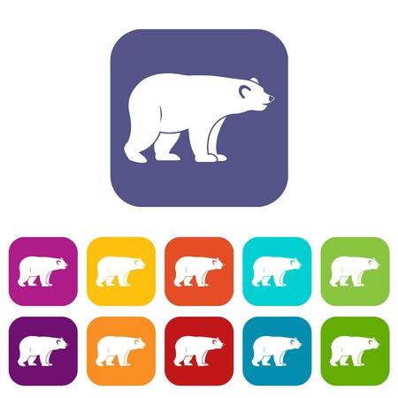 colorado rocky mountains: Wild bear icons set flat