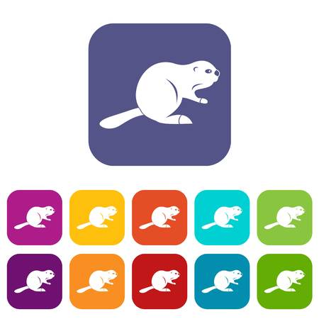 Canadian beaver icons set vector illustration in flat style In colors red, blue, green and other Illustration
