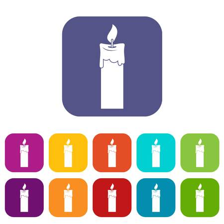 waxen: Candle icons set flat Illustration