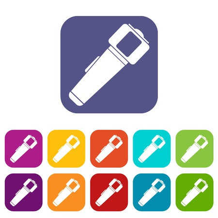 electric torch: Hand flashlight icons set flat