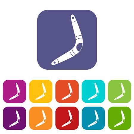 Boomerang icons set flat