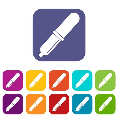 Pipette icons set vector illustration in flat style In colors red, blue, green and other