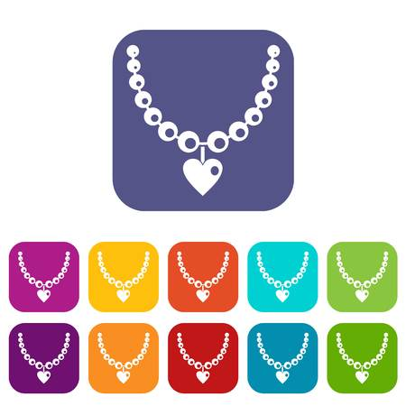 Necklace icons set vector illustration in flat style In colors red, blue, green and other Illustration