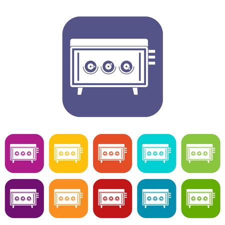 CD changer icons set vector illustration in flat style In colors red, blue, green and other Illustration