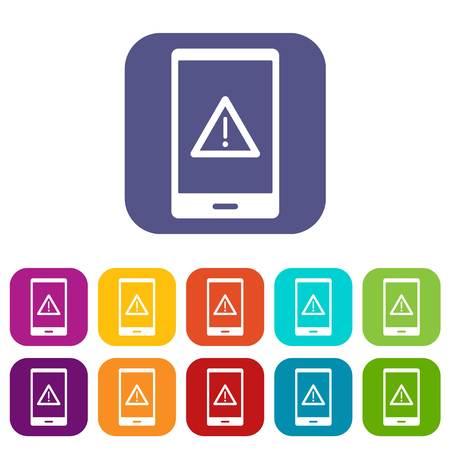 forbid: Not working phone icons set flat Illustration