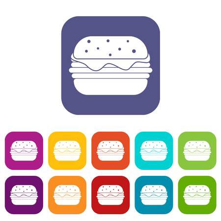 Hamburger icons set vector illustration in flat style In colors red, blue, green and other Illustration