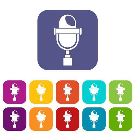 red sound: Retro microphone icons set vector illustration in flat style In colors red, blue, green and other