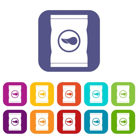 crunches: Chips plastic bag icons set vector illustration in flat style In colors red, blue, green and other
