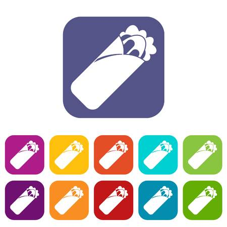 Shawarma sandwich icons set vector illustration in flat style In colors red, blue, green and other Illustration