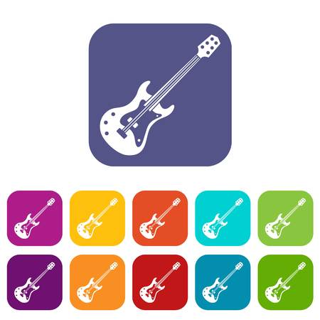 Classical electric guitar icons set vector illustration in flat style In colors red, blue, green and other