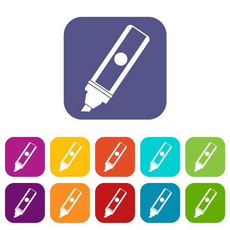 Permanent marker icons set vector illustration in flat style In colors red, blue, green and other