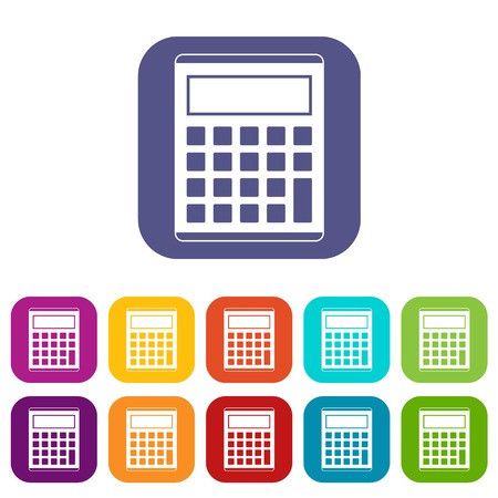 Office, school electronic calculator icons set vector illustration in flat style In colors red, blue, green and other Illustration