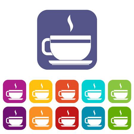 Tea cup and saucer icons set vector illustration in flat style In colors red, blue, green and other Illustration