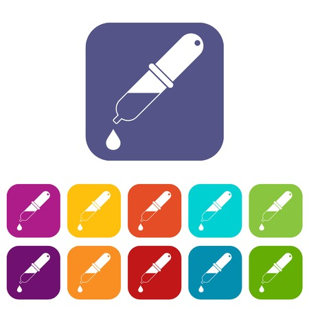 Pipette icons set flat