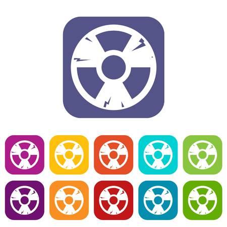 contamination: Radiation sign icons set flat