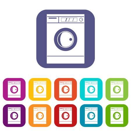 Washing machine icons set flat