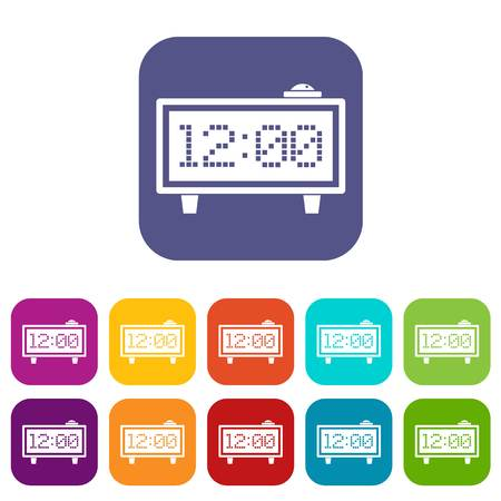 Alarm clock icons set flat