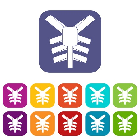 Human thorax icons set vector illustration in flat style In colors red, blue, green and other Illustration