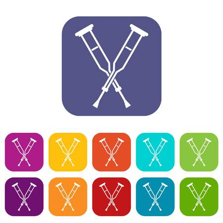 accidental: Crutches icons set vector illustration in flat style In colors red, blue, green and other