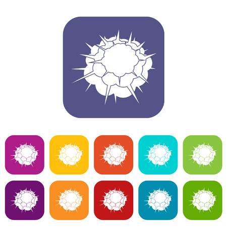Atomische explosie iconen instellen vectorillustratie in platte stijl In kleuren rood, blauw, groen en andere