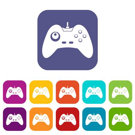 One joystick icons set vector illustration in flat style In colors red, blue, green and other