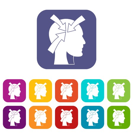 Head with arrows icons set vector illustration in flat style In colors red, blue, green and other