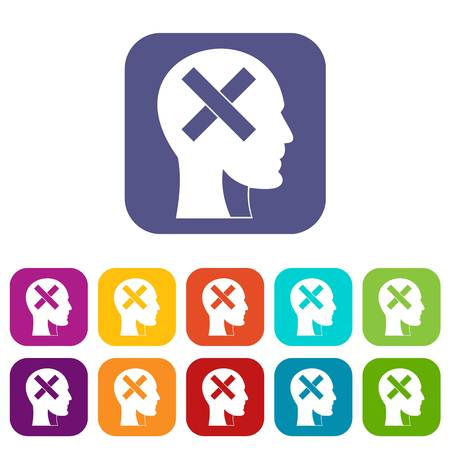 Human head with cross inside icons set vector illustration in flat style In colors red, blue, green and other