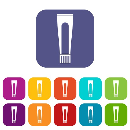 Toothpaste tube icons set vector illustration in flat style In colors red, blue, green and other Illustration