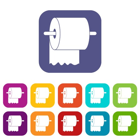 Roll of toilet paper on holder icons set vector illustration in flat style In colors red, blue, green and other Illustration