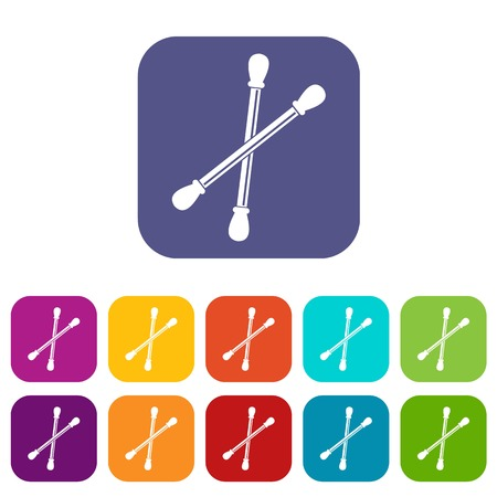 Cotton buds icons set vector illustration in flat style In colors red, blue, green and other