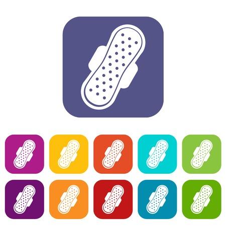 Sanitary napkin icons set flat Illustration