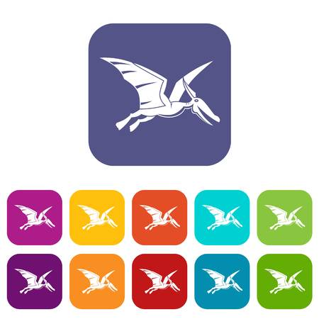 Pterosaurs dinosaur icons set vector illustration in flat style In colors red, blue, green and other