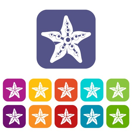 Starfish icons set vector illustration in flat style In colors red, blue, green and other