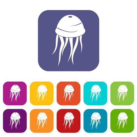 Jellyfish icons set vector illustration in flat style In colors red, blue, green and other