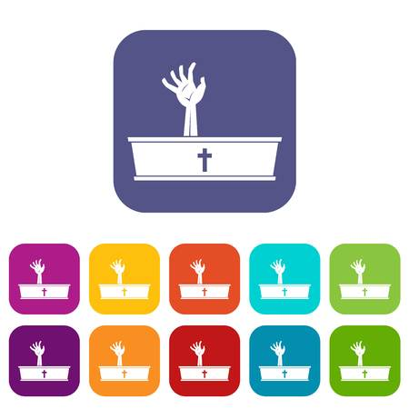 Zombie hand coming out of his coffin icons set vector illustration in flat style In colors red, blue, green and other
