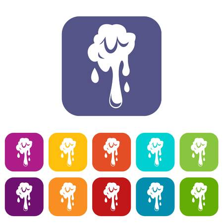 Dripping slime icons set vector illustration in flat style In colors red, blue, green and other