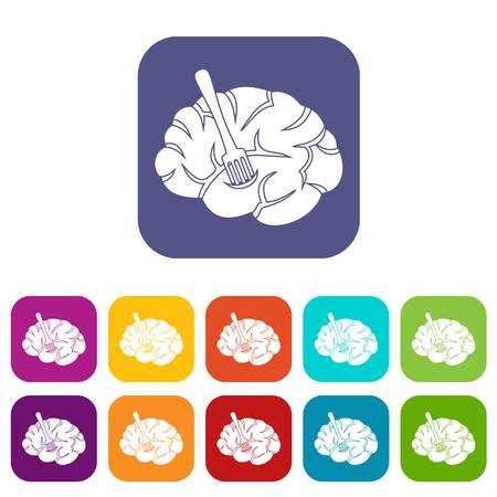Fork is inserted into the brain icons set vector illustration in flat style In colors red, blue, green and other