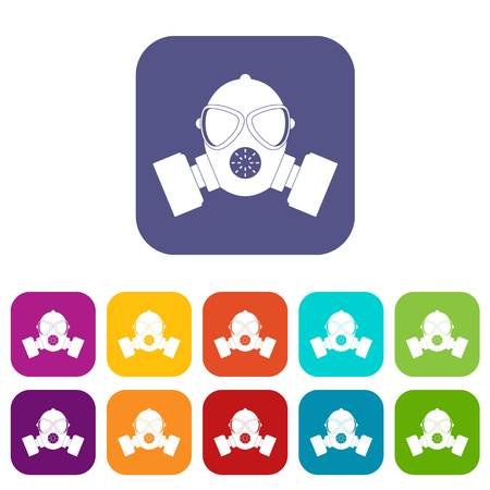 Respirator icons set vector illustration in flat style In colors red, blue, green and other