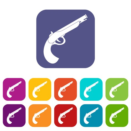 Gun icons set vector illustration in flat style In colors red, blue, green and other