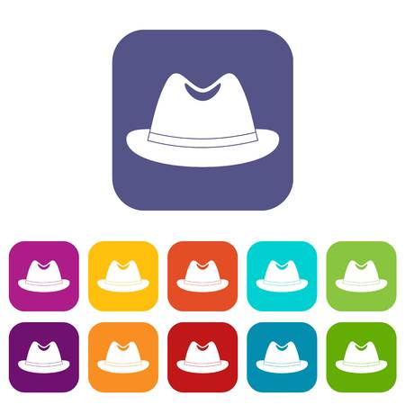 Man hat icons set vector illustration in flat style In colors red, blue, green and other Illustration