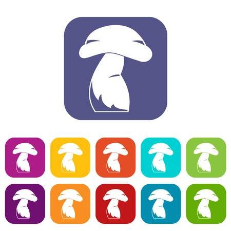 Good mushroom icons set vector illustration in flat style In colors red, blue, green and other